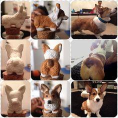 I made a clay model of Pi, my corgi puppy!! clay corgi, clay charm, corgi charm