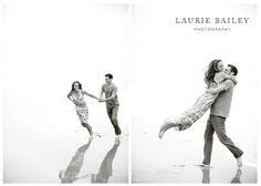 beach engagement photos reflection