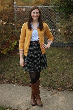 chambray / mustard / black / brown boots / polka dot skirt // Jenna of Freckled Fashionista