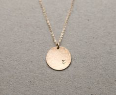 Personalized Hammered Initial Pendant / LARGE Hammered Disc Necklace / Circle…
