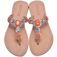 Mystique Sandals features unique hand crafted leather women's sandals that are embellished with jewelry Rhinestone Sandals, Beaded Sandals, Embellished Sandals, Embellished Gown, Coral Sandals, Cute Sandals, Mystique Sandals, Leather Sandals Flat, Flat Sandals