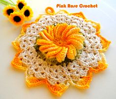 PINK ROSE CROCHET : Pega Panelas Flor Yellow