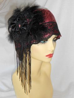 1920's inspired Vintage Turban style Cloche Hat Charleston Flapper Roaring 20's Great Gatsby from ValeriesFantasyHats on Etsy.
