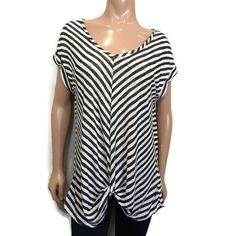 COIN 1804 Twist Hem Top Womens Plus Size 2X Black White Striped Scoop Neck Rayon #COIN1804 #Basic #Casual Black White Stripes, Black And White, Underarm, Scoop Neck, Blouses, Plus Size, Casual, Shirts, Tops
