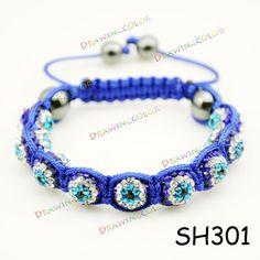 Blue zircon Shamballa Bracelets evil eye jewelry