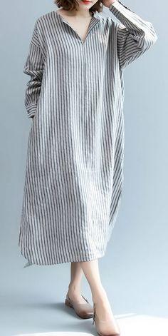 Loose Linen Striped Long Shirt Women Blouse For Fall Muslim Fashion, Hijab Fashion, Fashion Dresses, Linen Shirt Dress, Linen Dresses, Linen Blouse, Simple Dresses, Casual Dresses, Mode Hijab