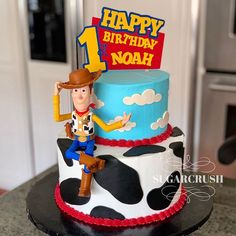 Toy Story cakeYou can find Toy story cakes and more on our website. Toy Story Party, Toy Story Birthday Cake, Woody Birthday, 2nd Birthday Party Themes, Toy Story Theme, 1st Boy Birthday, Birthday Party Decorations, Birthday Ideas, Cumple Toy Story