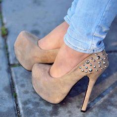 beige high heels with caps