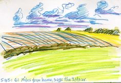 Lynne Chapman - Drawing on the move: through the car window in Yorkshire, UK. Inktense watercolour pencils.