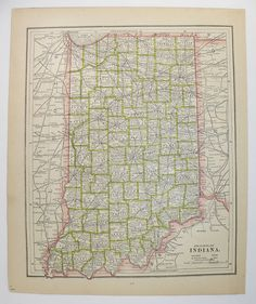 Virginia Map West Virginia Iowa Map Illinois 1900 Vintage Map US