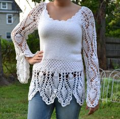 Snow Flakes Custom Made Cotton Size Hand Crocheted Sweater Top - Sizes 0 to 20. $89.00, via Etsy.