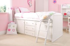 White Cabin Bed  Beautiful pure white cabin bed for kids bedrooms or spare rooms. The inside of the two cupboards and three drawers on this bed are also painted white and finished to a high standard. Offering a huge amount of storage this bed is loved by kids and extremely useful for keeping items tidy and stored away.  | Childrens Bed Centres