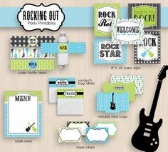 ROCK GUITAR Birthday Party Printable Package in Teal and Lime- Instant Download
