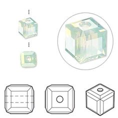Bead, Swarovski crystal, Crystal Passions, chrysolite opal, 6x6mm faceted cube (5601). Sold per pkg of 6.