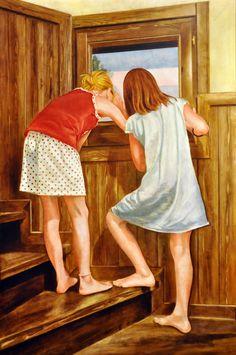 MIRANT PER LA FINESTRA (2012) FIGURA 100X66cm OLI SOBRE FUSTA ENTELADA  #barcelona #mercearmengol #artista #ilustradora #pintora #cuento #infantil #retrato #retratoporencargo