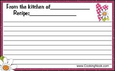Develop your own favorite recipes and keep track of them in a special recipe box using these cards. Description from cookingnook.com. I searched for this on bing.com/images