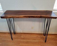 Live Edge Walnut Console Table Any Size Handmade Black | Etsy Bar Table, Solid Walnut Table, Table, Diy Sofa, Modern Entry Table, Walnut Sofa, Shaker Furniture, Live Edge Coffee Table, Home Bar Table