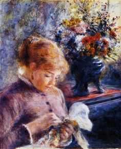 Pierre Auguste Renoir (French artist, 1841-1919) Young Woman Sewing
