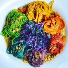Microgreens from @freshoriginsmicrogreens, Poultry from @maryschicken, Truffles from @wherechefsshop - Eat the rainbow! All vegetable and herb dyed pasta in ragu bianco of chicken & duck with purple micro cress & black truffle peelings. #chefsroll #rollwithus #chefsrollofficial by @saltyseattle