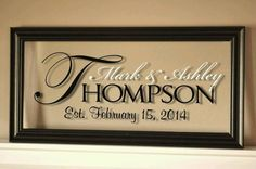 Housewarming - Anniversary - Hostess Gift -- Love the mix of fonts and colors. Vinyl cut with Silhouette Cameo (reverse) and put into floating frame.