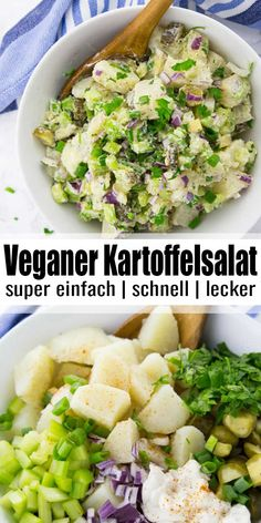 This vegan potato salad with pickles and celery is perfect for summer BBQs and picnics. It's a vegan version of classic American potato salad that will have everyone coming back for more! Salad Recipes For Dinner, Easy Salad Recipes, Vegan Dinner Recipes, Delicious Vegan Recipes, Vegan Dinners, Easy Healthy Recipes, Whole Food Recipes, Vegetarian Recipes, Vegan Recipes Summer