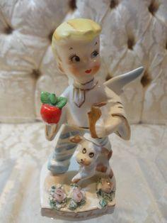 Lefton 'September' birthday boy angel w/school books and apple figurine #556