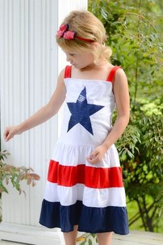 Red, White & Blue Sequin Star Dress
