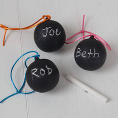 Blackboard baubles for a real industrial feel from notonthehighstreet.com