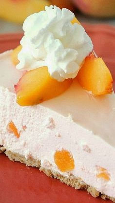 Creamy Peach Pie - This creamy peach pie is SO light and fluffy. It really is the perfect low-cal dessert for summer. You could even chop up fresh peaches and put them in the pie for extra-peachy flavor!