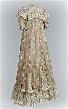 Elaborate silk and lace christening robe ... possibly belonged to Russian royalty, circa 1890-1900.  Photo courtesy the Metropolitian Museum of Art costume collection.
