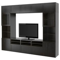 "BESTÅ TV storage combination/glass doors, Hanviken, Sindvik black-brown clear glass, 118 1/8x15 3/4x90 1/2"". Buy online or in-store! - IKEA Media Storage, Tv Storage, Storage Spaces, Ikea Floating Shelves, Glass Shelves, Ikea Tv, Besta Tv Bank, Tv Bench, Frame Shelf"