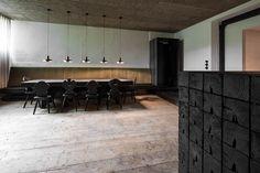 Lounge T by Destilat Lounge Design, Monochrome Interior, Interior Design, Old Wooden Chairs, Chalet Design, Room Pictures, Design Studio, Wooden Flooring, Black Wood