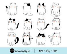 Cat Doodle, Doodle Cartoon, Doodle Drawings, Doodle Art, Cute Cat Drawing Easy, Cute Easy Drawings, Cute Animal Drawings, Cat Download, Cat Template