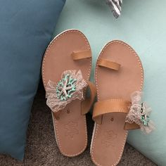 Greek leather sandals with aqua metallic corals