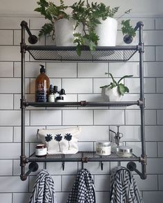 Tree Cosmetic Pouch Our Palm Tree Cosmetic Pouch on this monochrome bathroom shelfie.Our Palm Tree Cosmetic Pouch on this monochrome bathroom shelfie. Bathroom Wall Shelves, Bath Shelf, Bathroom Wall Decor, Bathroom Towels, Shelf Wall, Bathroom Ideas, Bathroom Storage, Metro Tiles Bathroom, Shower Ideas