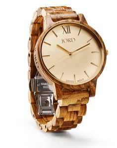 JORD Women's Frankie Watch in Zebrawood and Champagne