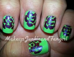 Makeup Junkie and Fangirl: Green and Purple Rose Mani