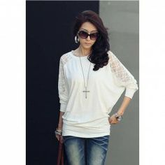 $7.31 Loose-Fitting Style Splicing Lace Batwing Sleeve T-Shirt For Women