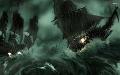 Ghost Pirate Ship Wallpaper Desktop Background J52