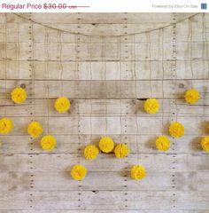 Black Friday Sale DIY Dandelion Yellow Tissue Paper Flower Wedding Garland Kit, Photography Prop, Party Decoration, Pom Poms Garland,