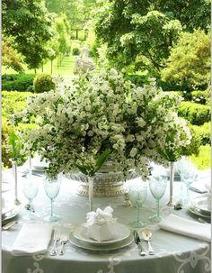 Sempre lindo e correto, é o branco e verde para decorar seu casamento, sua festa, seu grande dia!