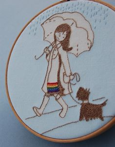 Retiring February 2012 Embroidery Pattern with Applique Tutorial April Showers Rainbow Girl with Dog Embroidery Hoop Art, Cross Stitch Embroidery, Embroidery Patterns, Machine Embroidery, Mexican Embroidery, Applique Tutorial, Reverse Applique, Art Textile, Needlework