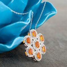 Mexican fire #opal and white #topaz #pendant and #chain for $129.99