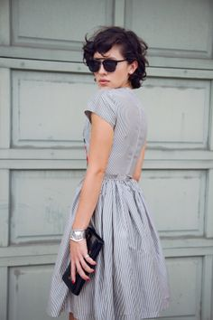 dress, glasses, clutch