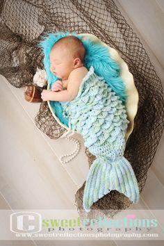 Crochet Mermaid Tail and Bikini Top Photo Prop by pinkmooncrochet