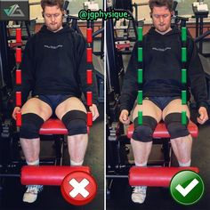 LEG EXTENSION ❌✅. Whilst performing LEG EXTENSIONS a common mistake made is shifting our knees outside of our line of shoulders conversely opening the quads out putting an excessive strain on our abductors as opposed to locating the tension through the rectus femoris! Consequentially our initiation, TUT (time under tension) and ability to perform the exercise efficiently is severely reduced! Ensuring our set up is correct before we make any movement is fundamental.