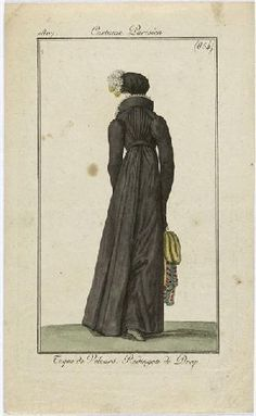 A black redingote, but I suppose not all black was mourning? 1807 Costume parisien