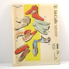 Vintage 1950s McCalls Womens and Girls Slipper Pattern by VintageCreekside on Etsy, $8.50