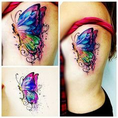 Watercolor butterfly tattoo tattoo flower tendril, tattoo with hibiscus motif on the leg, tattoos for women Tattoo Henna, Feather Tattoos, Tattoo Fonts, Leg Tattoos, Body Art Tattoos, Tattoos For Guys, Tattoos For Women, Tattoo Quotes, Wind Tattoo