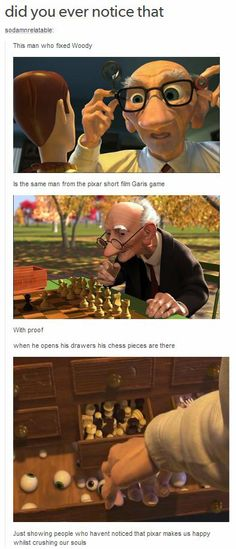 Disney/Pixar's Old Man.<I've always liked Gari from PIXAR, but George of Aristocats willALWAYS be top knotch in my book! Disney Pixar, Disney Animation, Disney And Dreamworks, Disney Magic, Disney Secrets In Movies, Funny Disney Memes, Disney Jokes, Disney Facts, Disney Easter Eggs